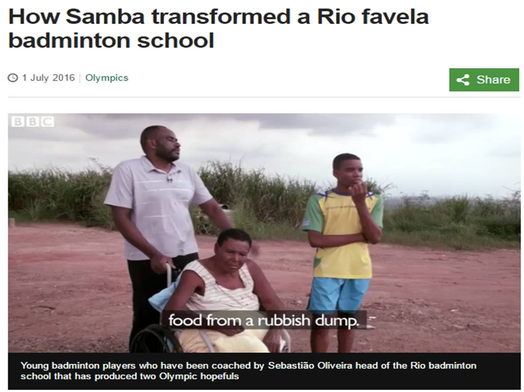 How Samba transformed a Rio favela Badminton School – BBC Sport – July 2016