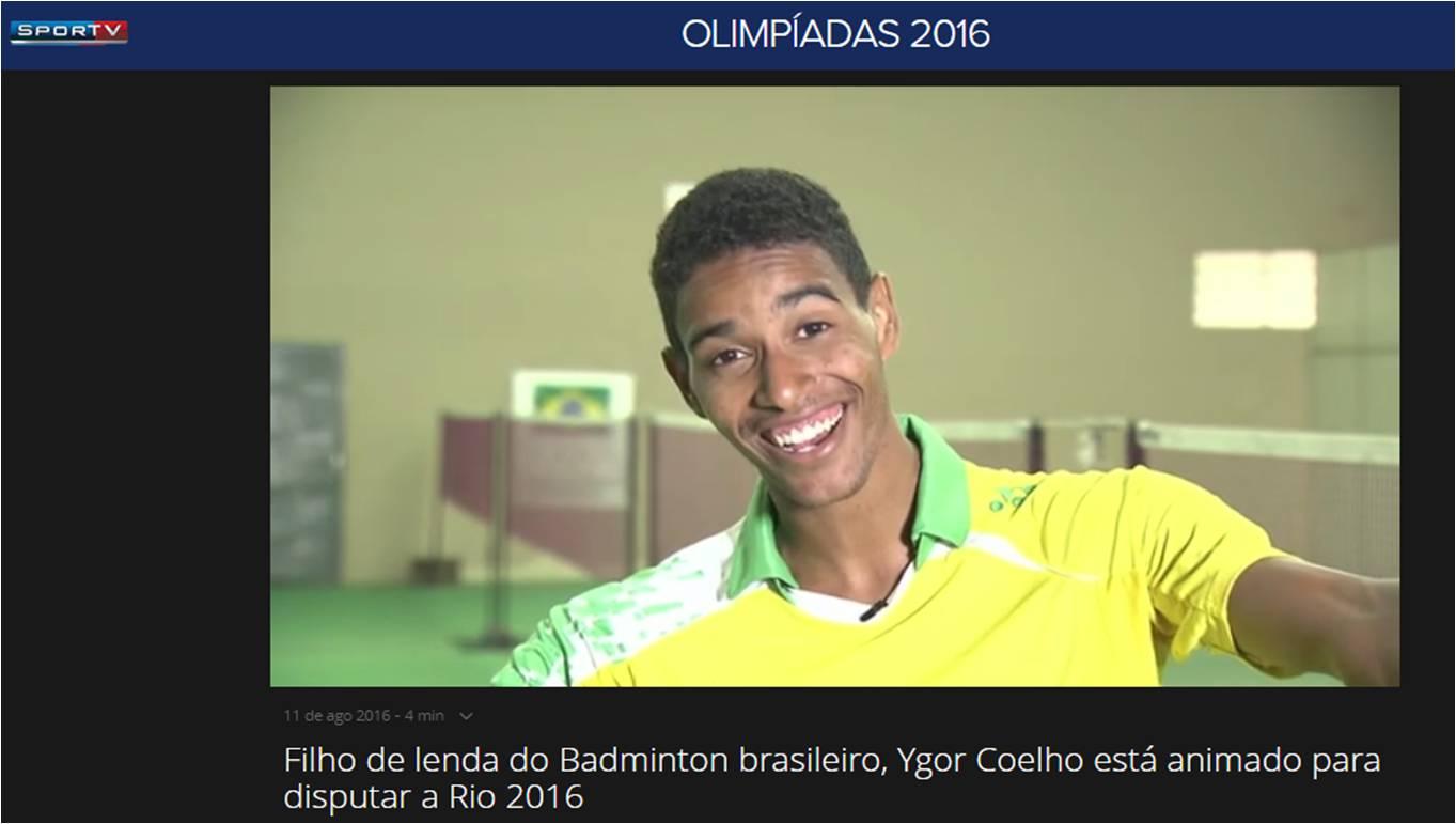Ygor Coelho esta animado para disputar a Olimpiada – SPORTV – Ago 2016